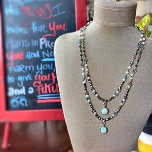 Light turquoise druzy double layer necklace.